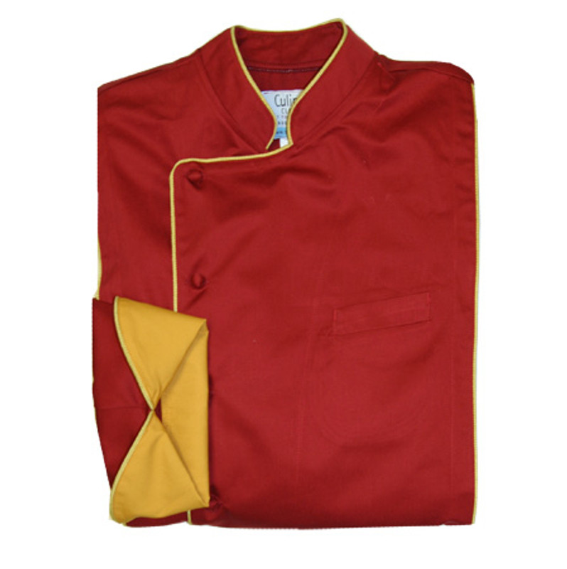 Milan Chef Coat in Chili Pepper Organic Cotton with Gold Accents