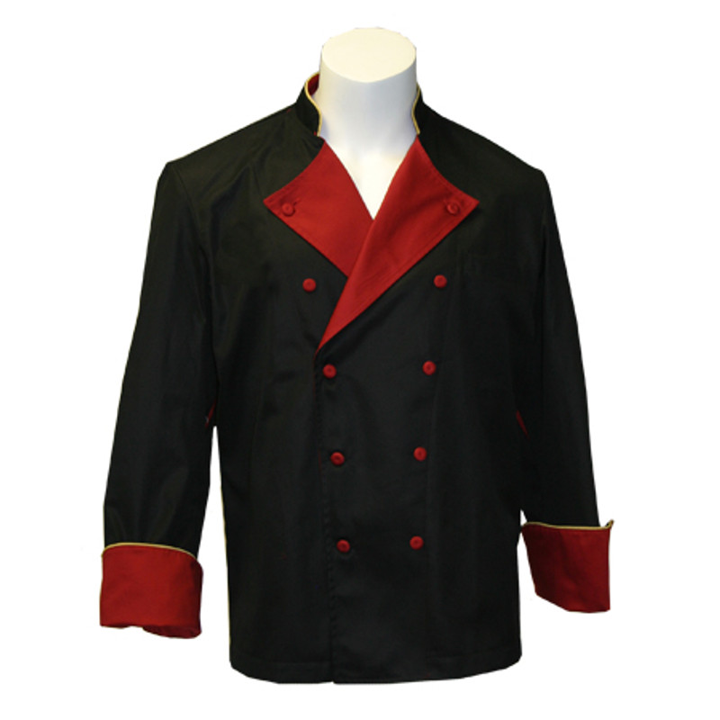 Lucca Chef Coat in Black Organic Cotton with Red & Gold Accents