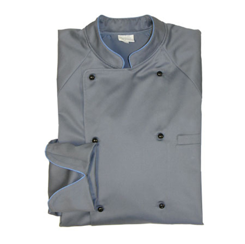 Raglan Chef Coat in Cool River Organic Cotton with Morning Glory Blue Cording