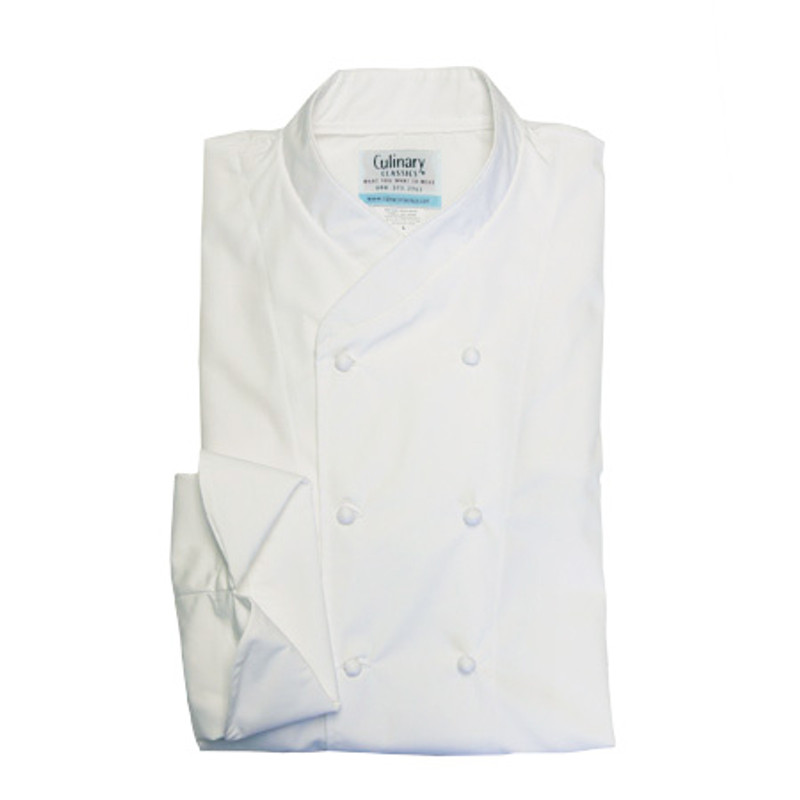 Imperial Chef Coat in White Egyptian Cotton with Hand-Rolled Buttons