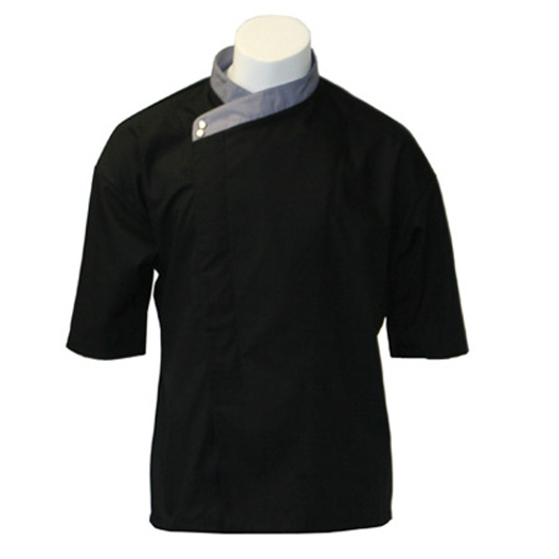 Montreal Chef Coat in Black Poplin with Graphite Collar