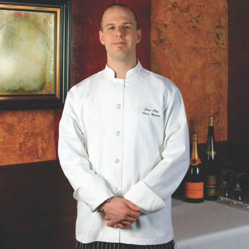 Mandarin Chef Coat in White Egyptian Cotton