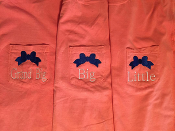 Longsleeve Pocket Tees Embroidered Family Shirts with Bow