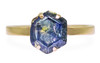 2.87 Carat Hand-Cut Sapphire Ring in Yellow Gold