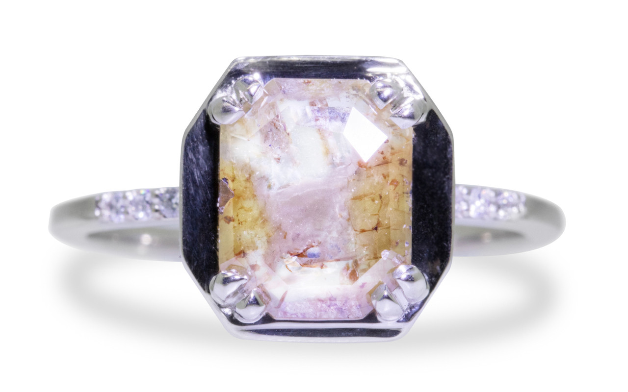 MAROA Ring in White Gold with 1.42 Carat Champagne and White Diamond