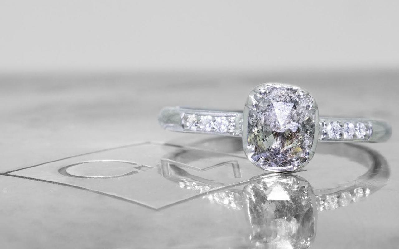 .87 Carat Salt and Pepper Diamond Ring in White Gold