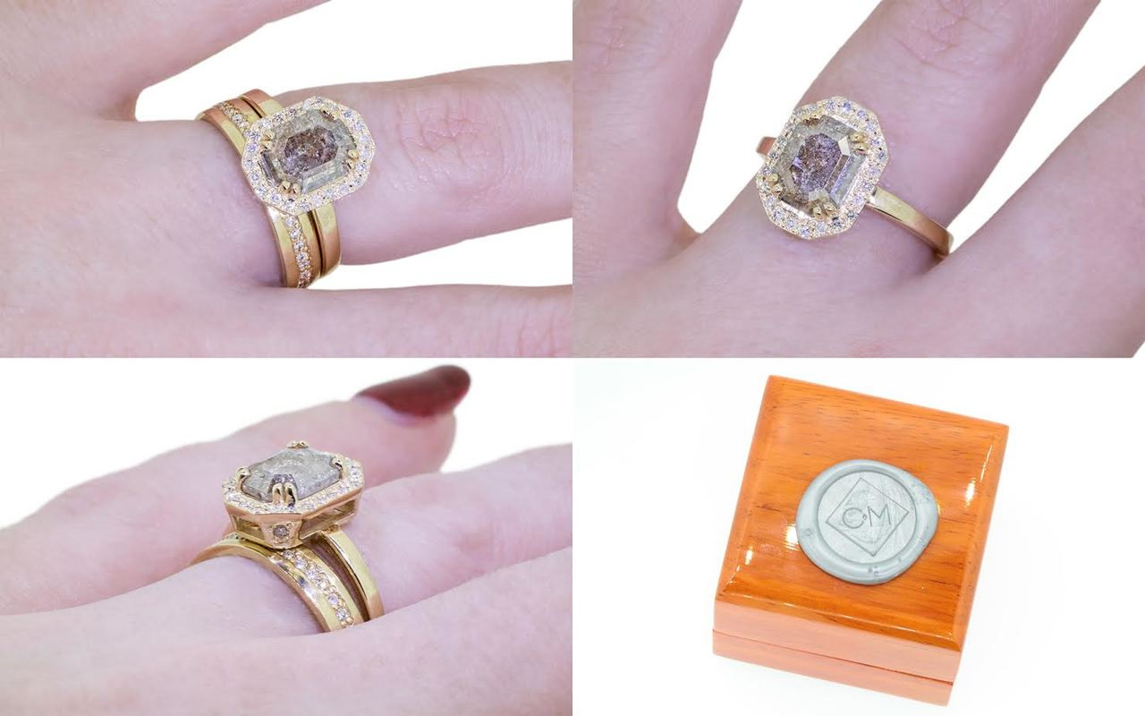 KATLA Ring in Yellow Gold with 1.17 Carat Smoky Gray Diamond