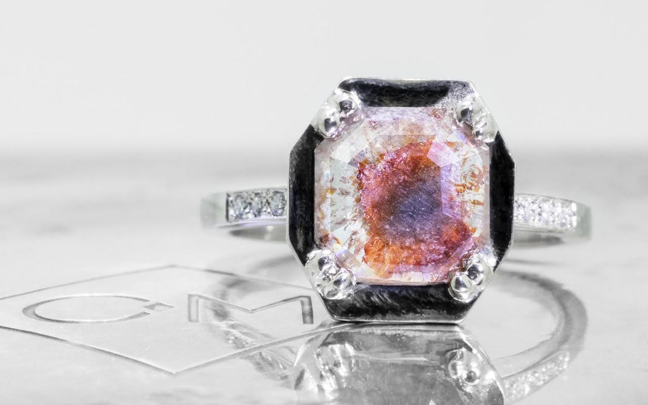 MAROA Ring in White Gold with 1.28 Carat Cognac and White Diamond