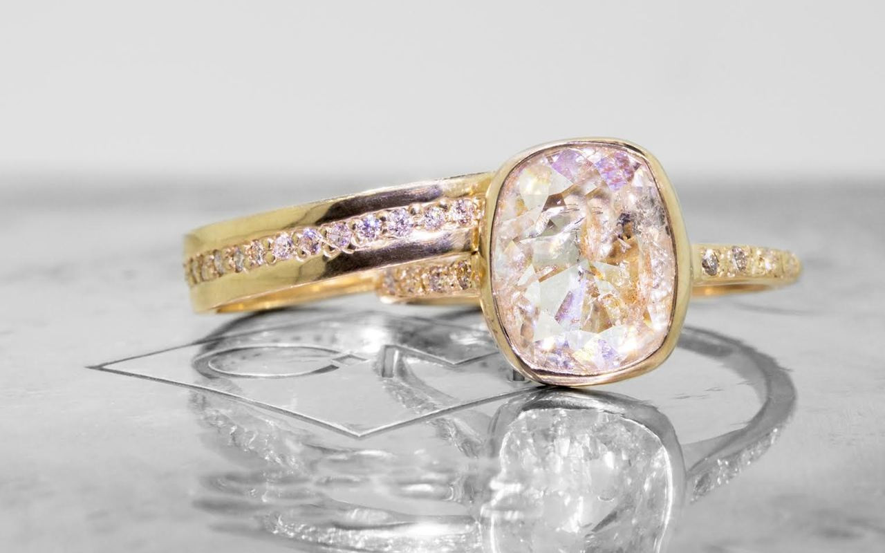 2.62 Carat Rustic White Diamond Ring in Yellow Gold