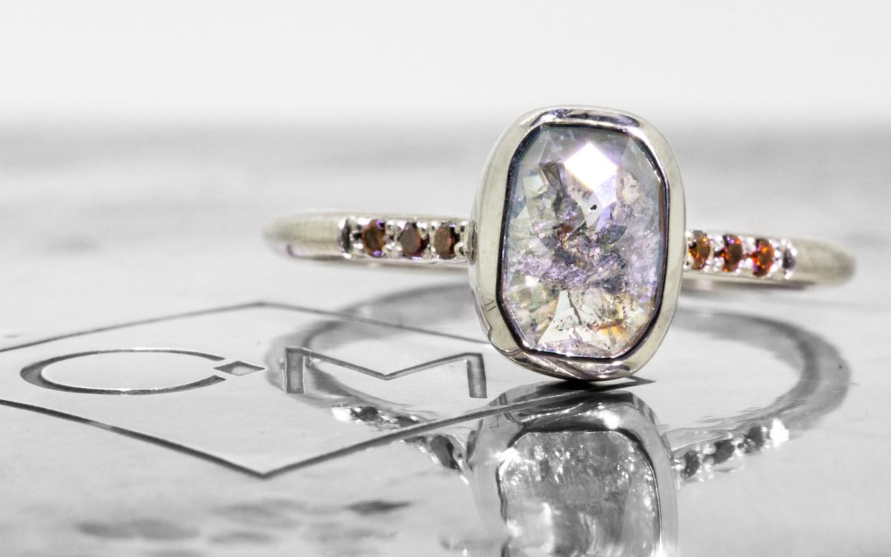 1.79 Carat Gray Diamond Ring in White Gold