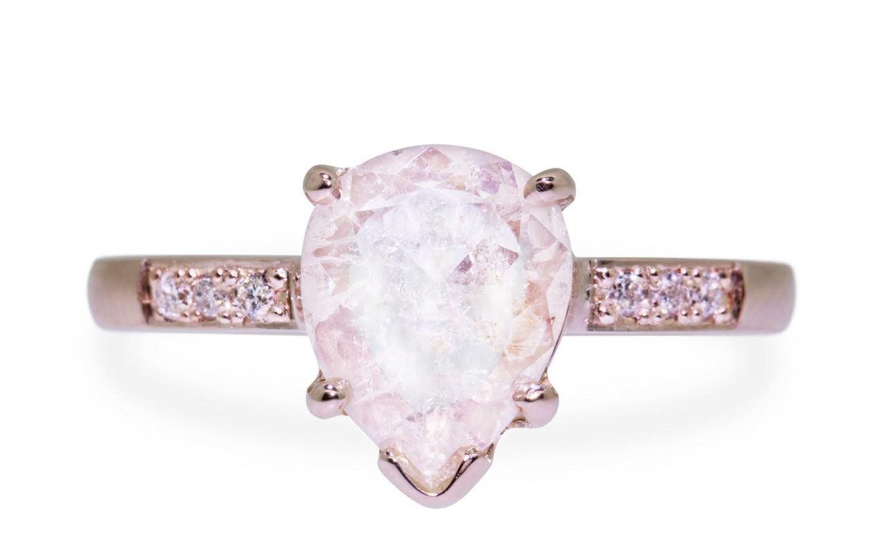 1 Carat Rustic White Diamond Ring in Rose Gold