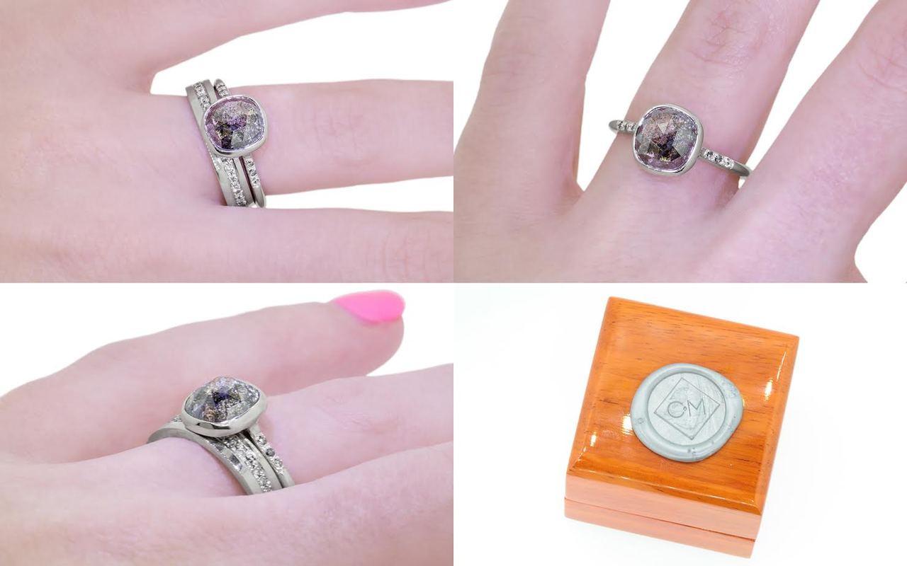 2.38 Salt and Pepper Diamond Ring in White Gold