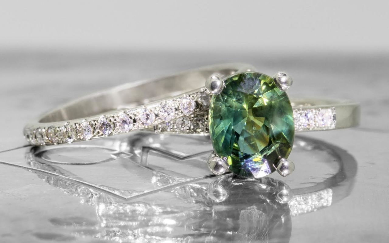 1.97 Carat Blue/Green Sapphire Ring in White Gold