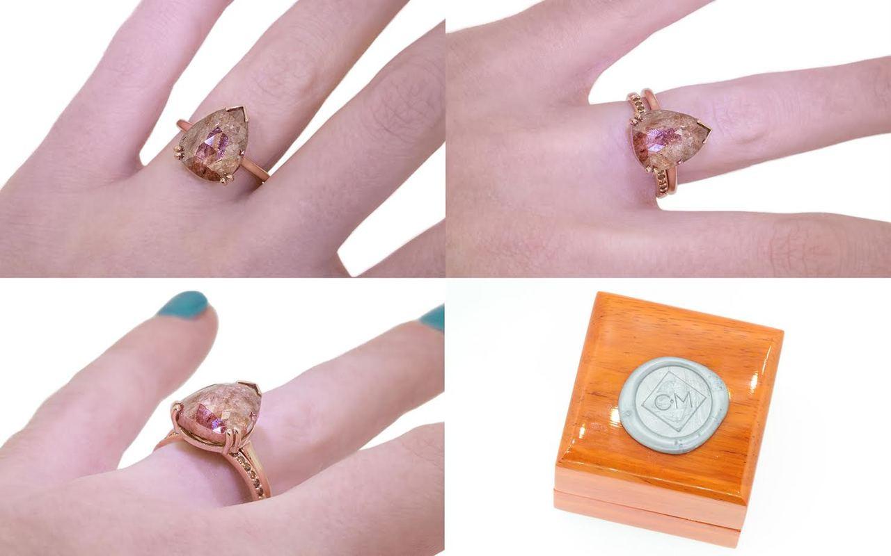 7.21 Carat Rich Cognac Diamond Ring in Rose Gold