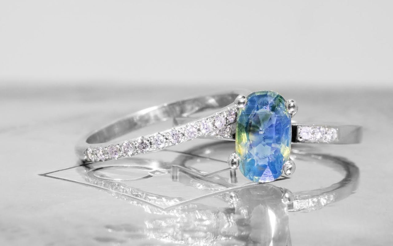 1.82 Carat Multi-Color Sapphire Ring in White Gold