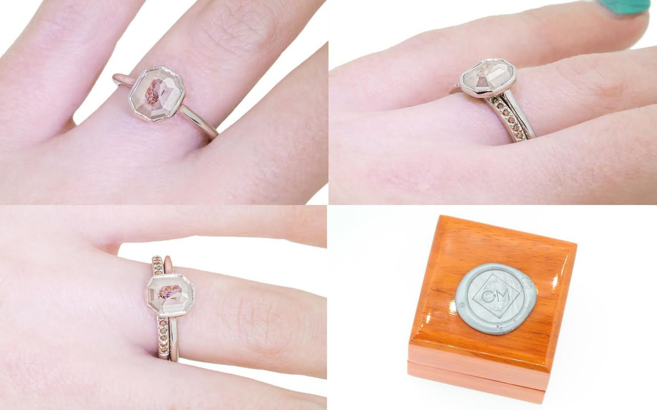 1.11 Carat Gray with Cognac Diamond Ring in White Gold