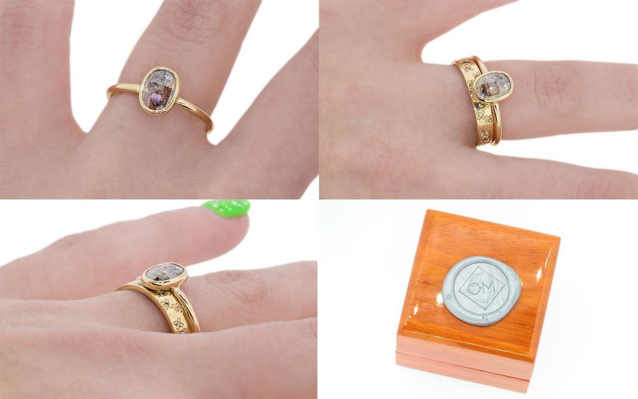 .86 Carat Salt & Pepper Diamond Ring in Yellow Gold