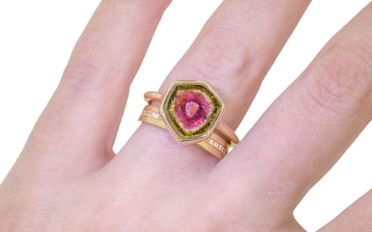 5.7 Carat Watermelon Tourmaline Ring in Yellow Gold