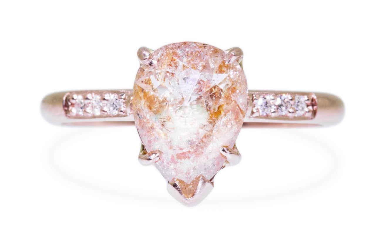 1.75 Carat Rustic White/Peach Diamond Ring in Rose Gold