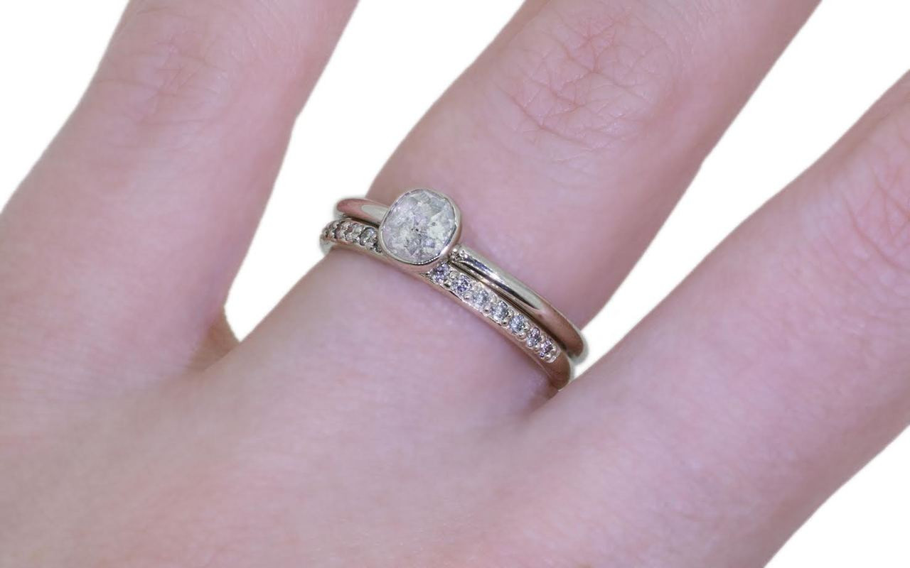 .54 Carat Rustic White Diamond Ring in White Gold