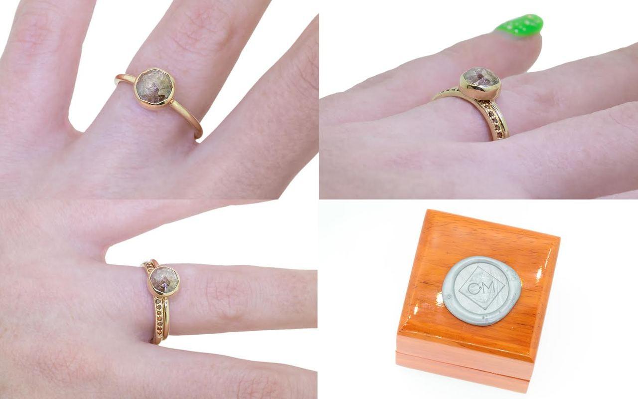 1.89 Carat Rose Diamond Ring in Yellow Gold