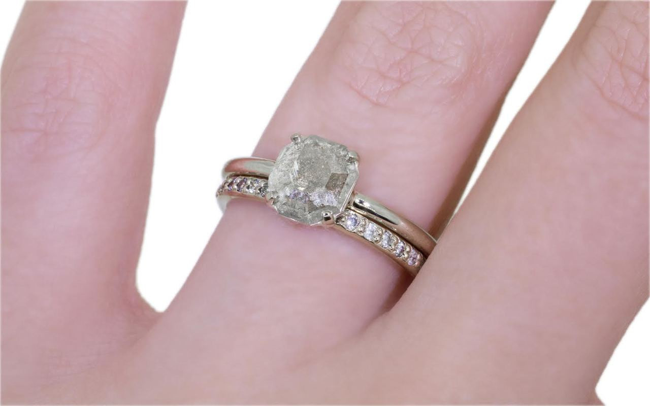 .61 Carat Light Gray Diamond Ring in White Gold