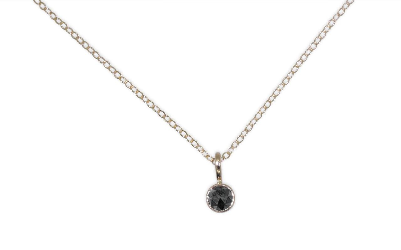 Rose-Cut Black Diamond Necklace in Yellow Gold