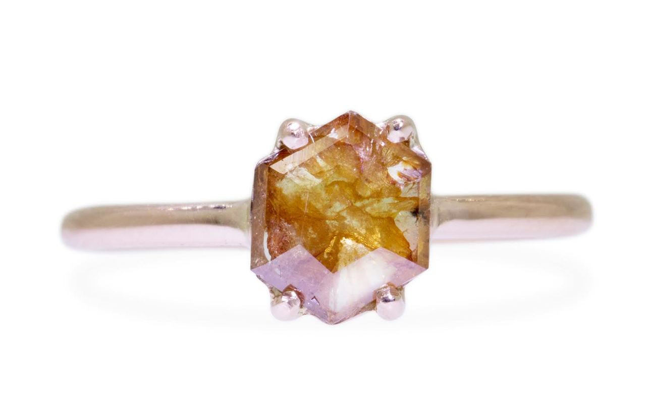 .76 Carat Peach/Cognac Swirl Diamond Ring in Rose Gold