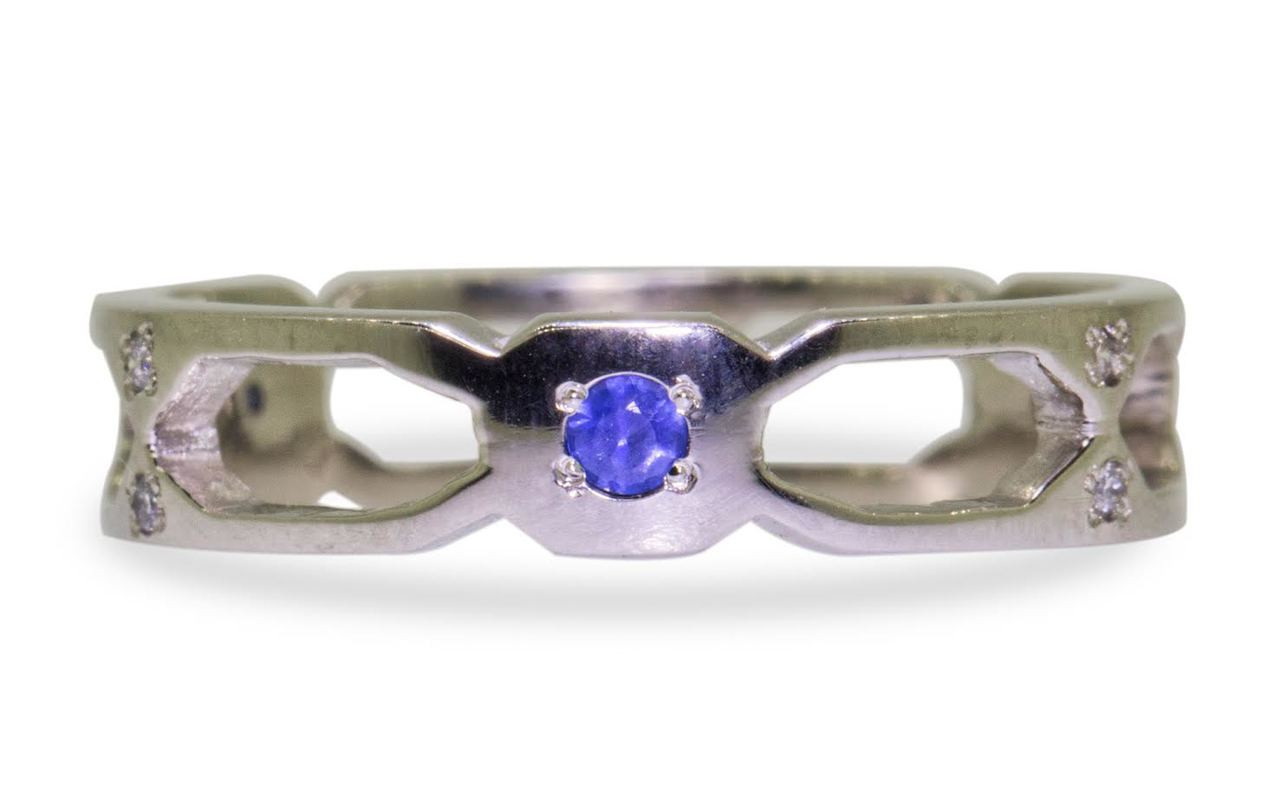 Deco Infinity Band with Blue Sapphire