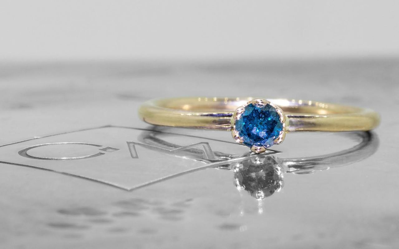 .19 Carat Blue Diamond Ring in Yellow Gold