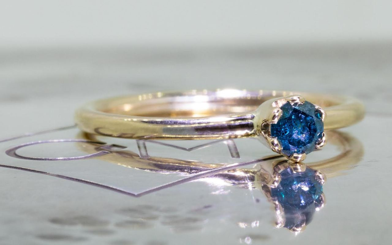 .19 Carat Blue Diamond Ring in Yellow Gold