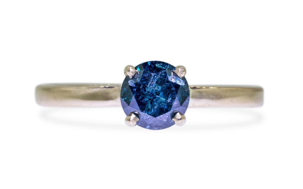 .80 Carat Blue Diamond Ring in Yellow Gold