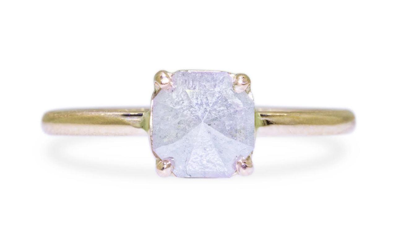 .92 Carat Gray Diamond Ring in Yellow Gold