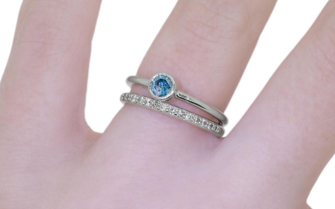 .35 Carat Blue Diamond Ring in White Gold