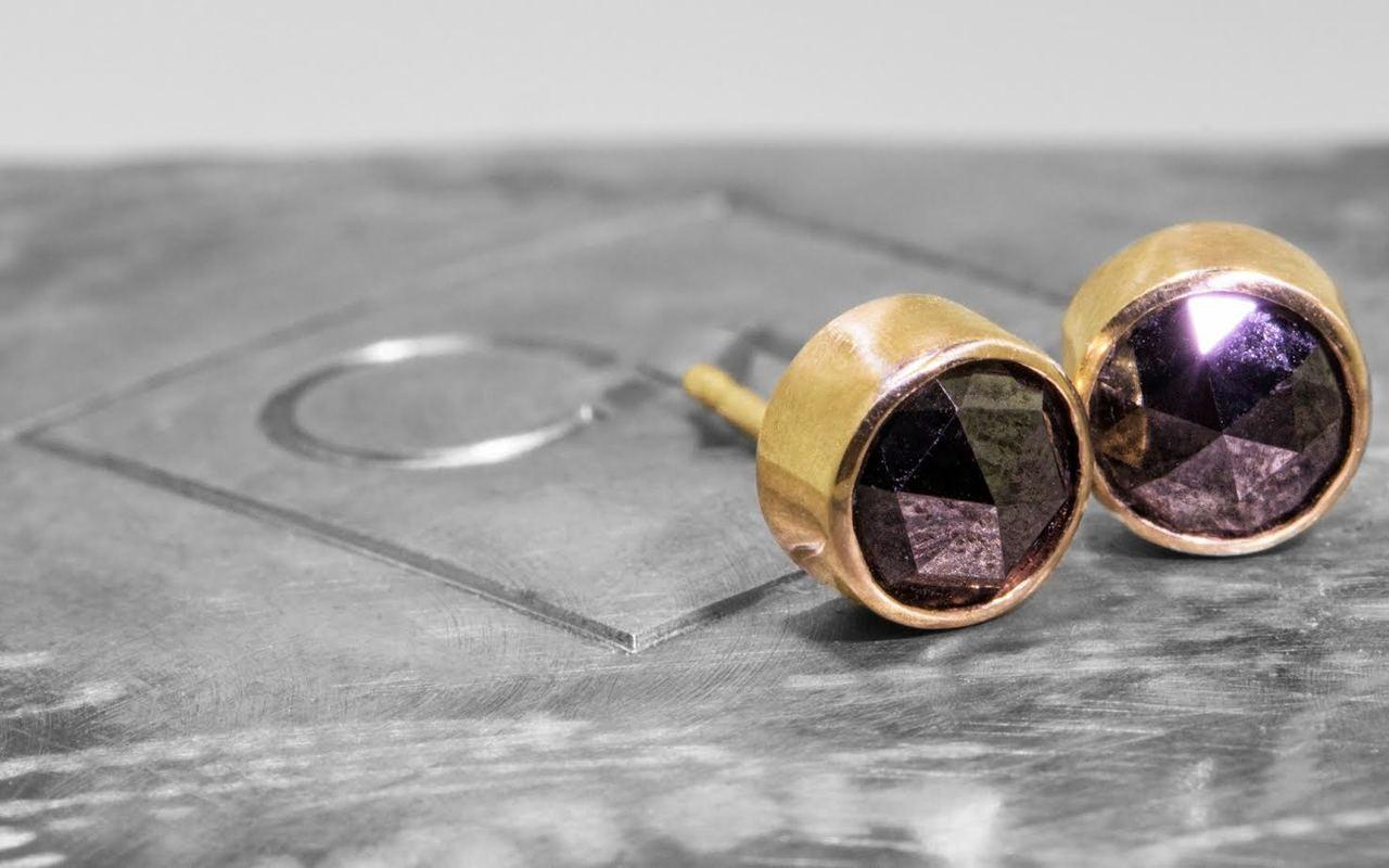 Rose-cut Black Diamond Earrings in Yellow Gold