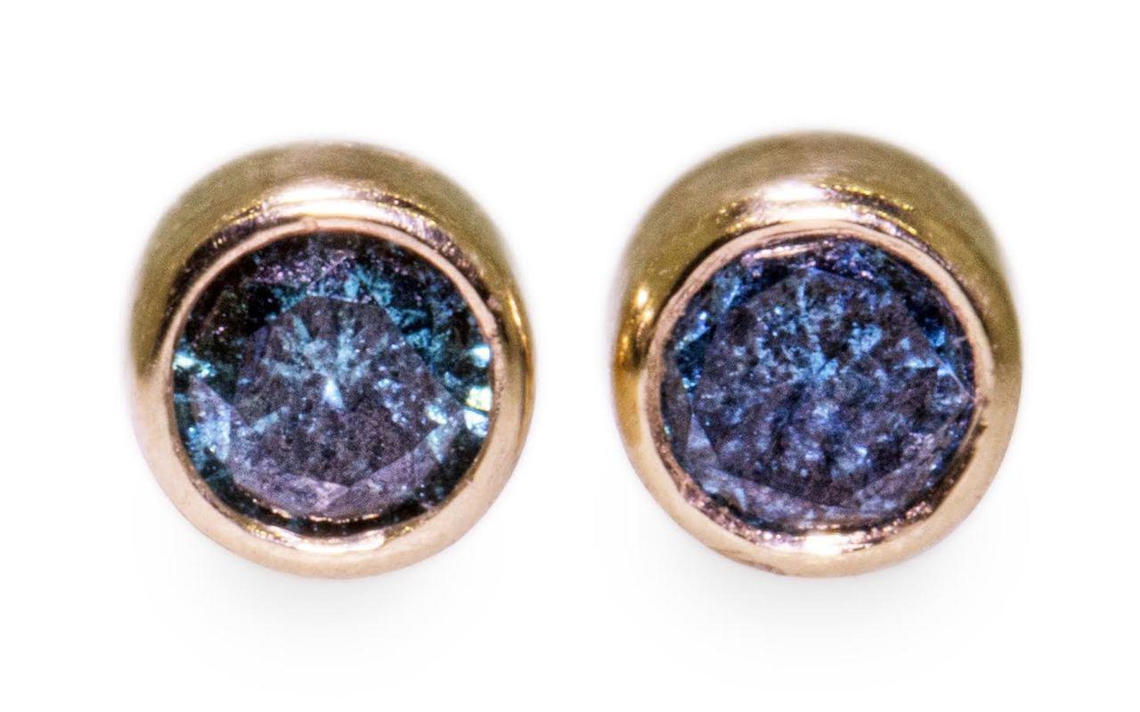 Blue Diamond Earrings in Yellow Gold