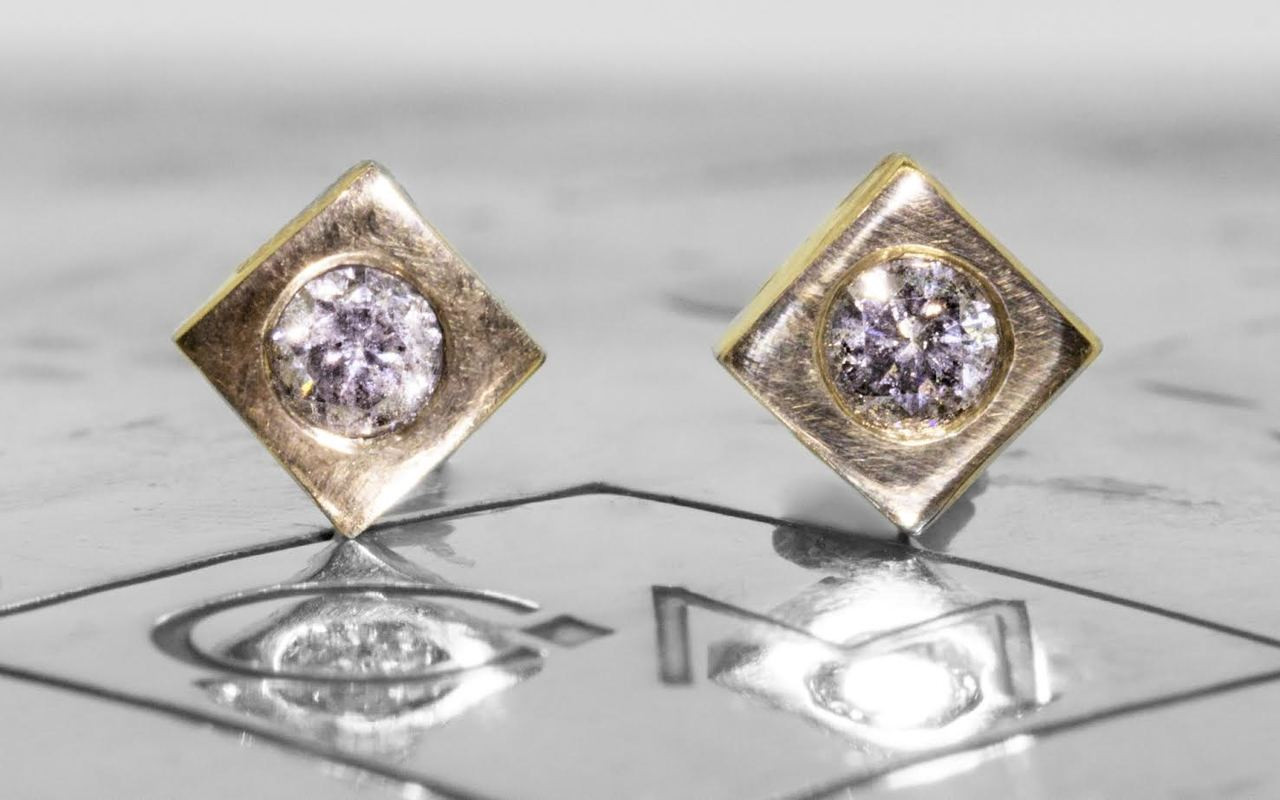 Gray Diamond Studs