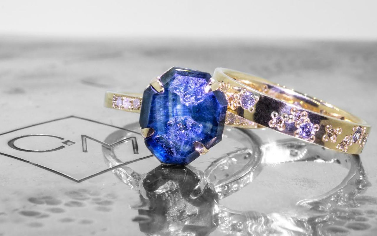 5 Carat Hand-Cut Blue Sapphire Ring in Yellow Gold