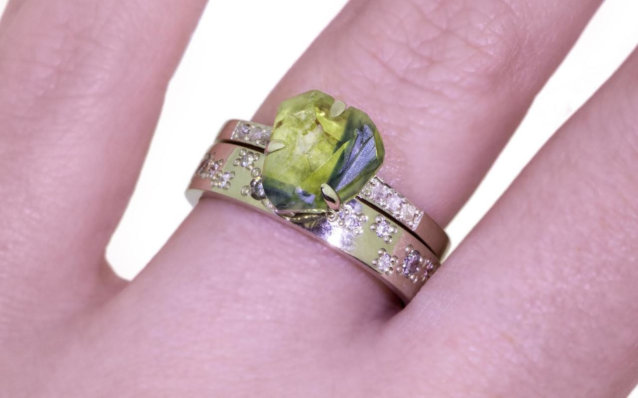 2.82 Carat Hand-Cut Multi-Color Sapphire Ring in White Gold