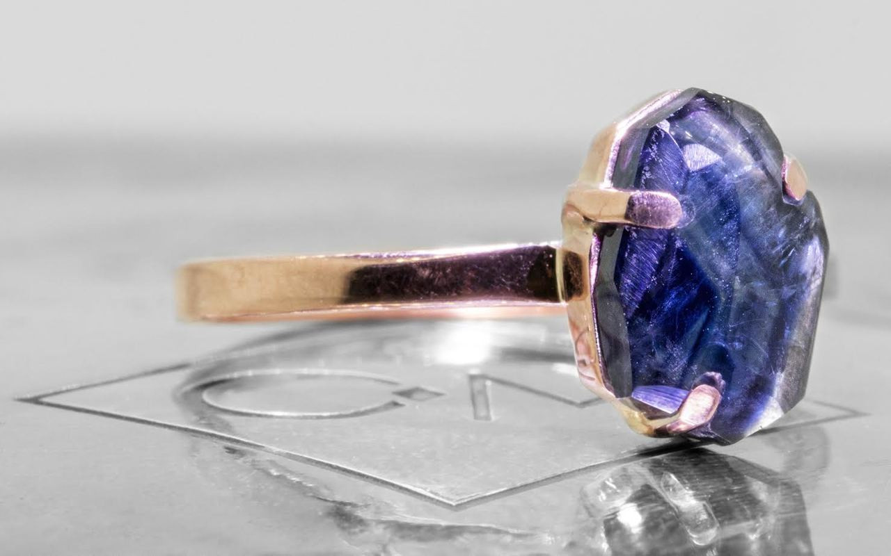 2.12 Carat Hand-Cut Blue Sapphire Ring in Rose Gold