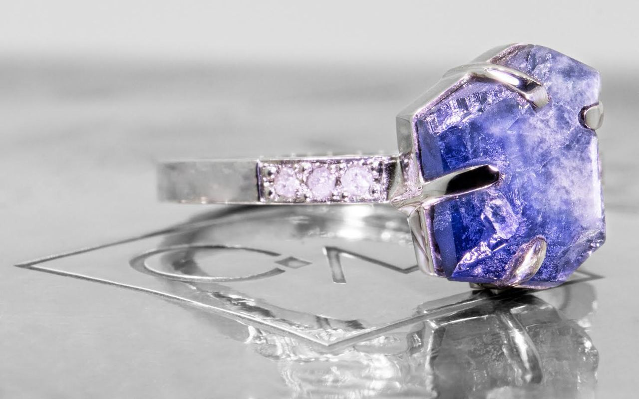 3.06 Carat Hand-Cut Blue/White Sapphire Ring in White Gold