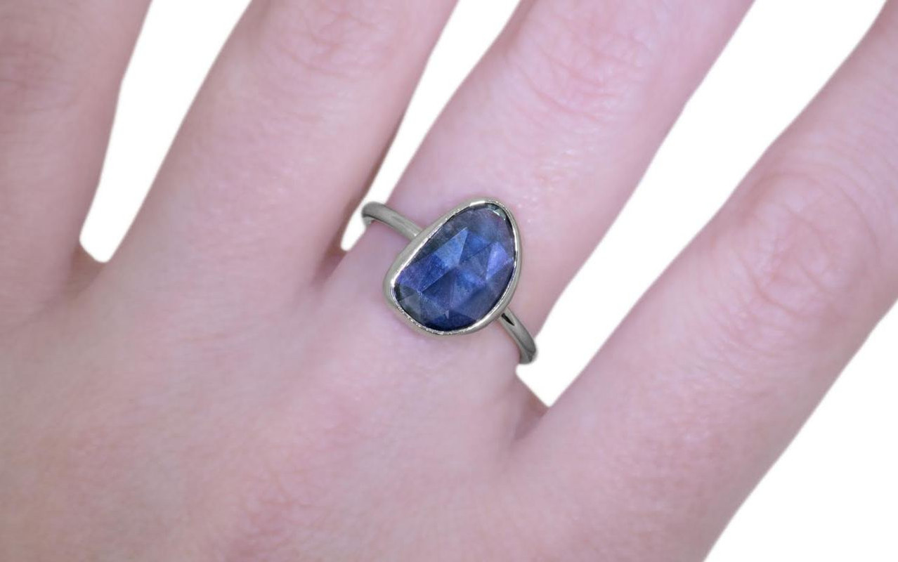 3.46 Carat Blue Sapphire Ring in White Gold