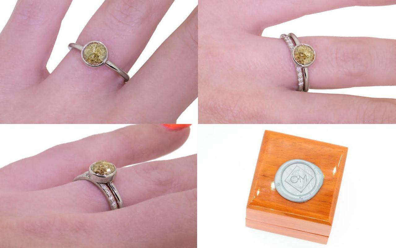 1.56 Carat Earthy Green Diamond Ring in White Gold