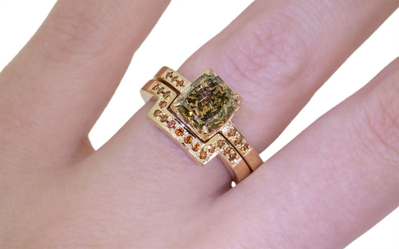 2.18 Carat Dark Champagne Diamond Wedding Set in Yellow Gold