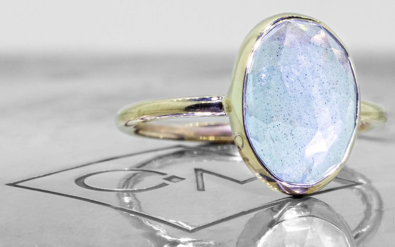 3 Carat Aquamarine Ring in Yellow Gold