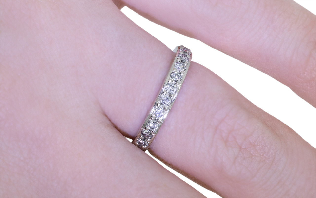 Wedding Band with 16 Gray Pave 2mm Diamonds
