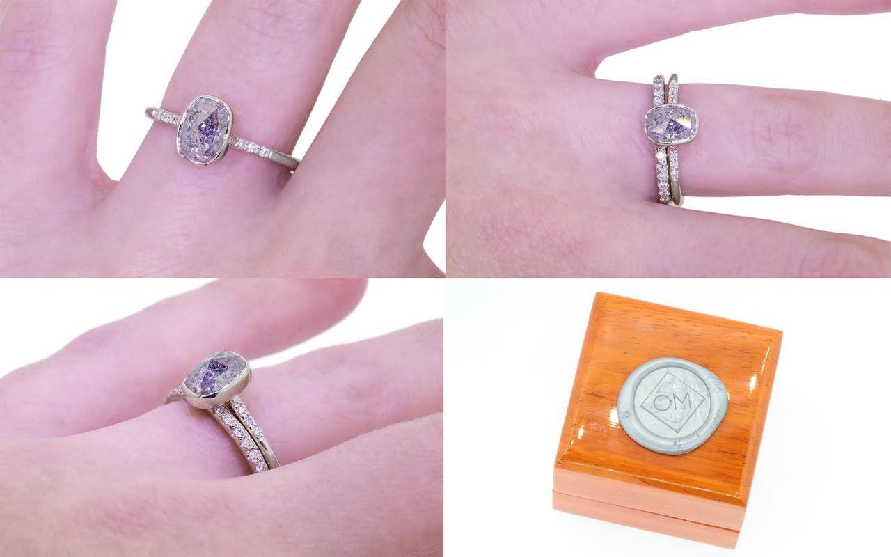 1.65 Carat Salt & Pepper Diamond Ring in White Gold