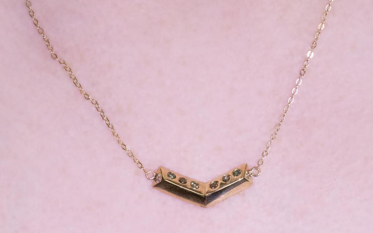 Diamond Chevron Necklace in Yellow Gold