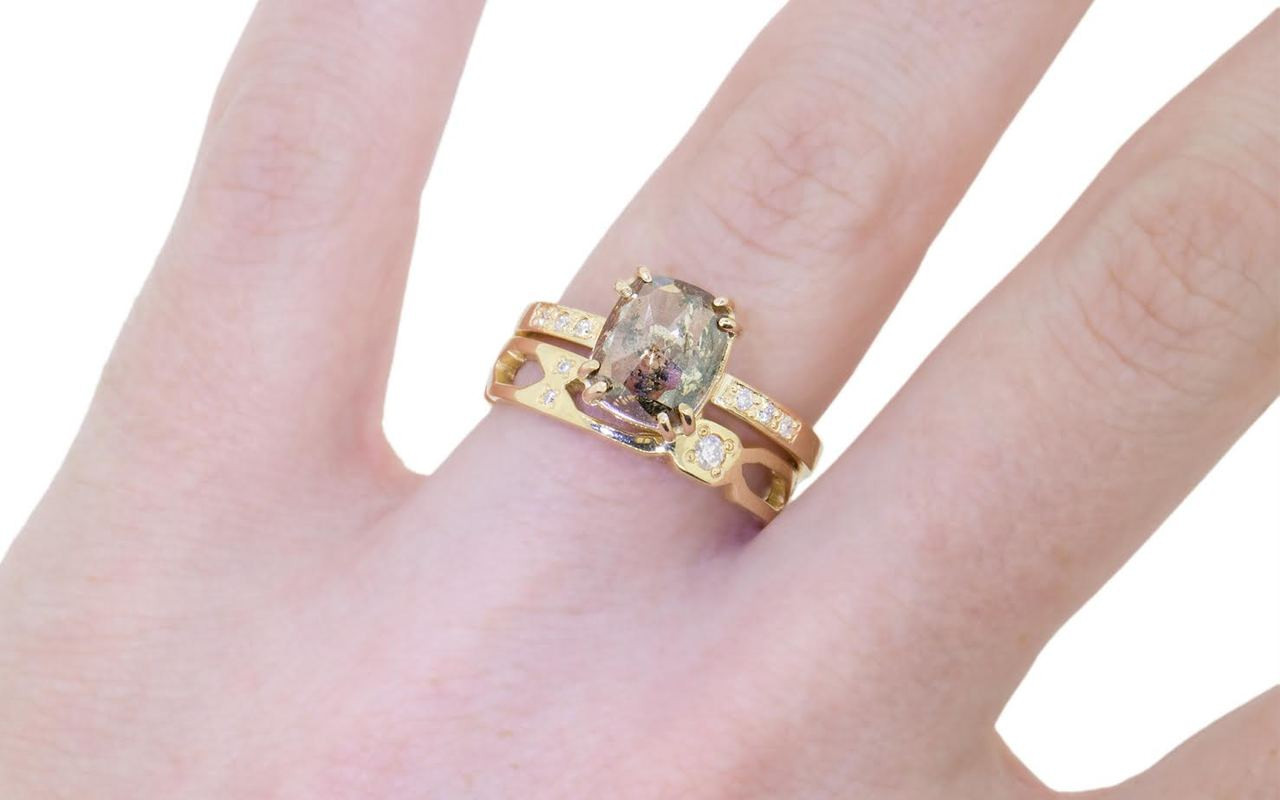 1.72 Carat Champagne & Pepper Diamond Ring in Yellow Gold