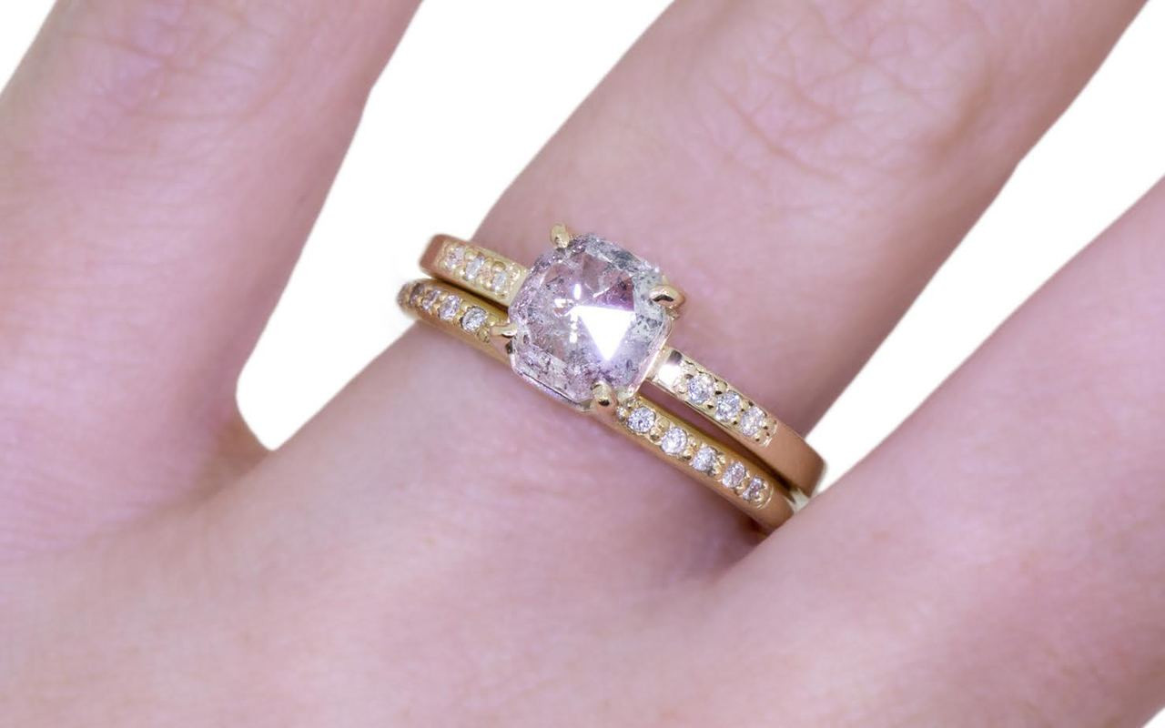 1.30 Carat Salt & Pepper Diamond Ring in Yellow Gold